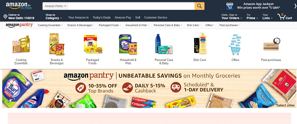 Amazon Pantry grocery shopping
