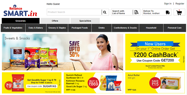 reliance smart grocery site