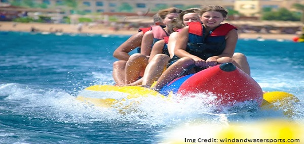 Riding a Banana Boat at Port Blair