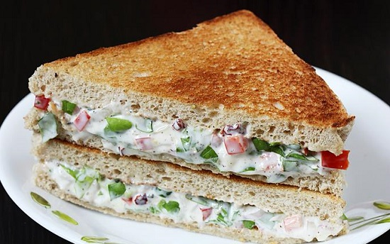 Vegetable and Mayo Cheese Sandwich Recipe