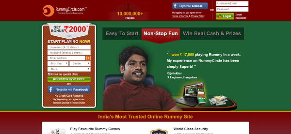 Online rummy circle cash game board