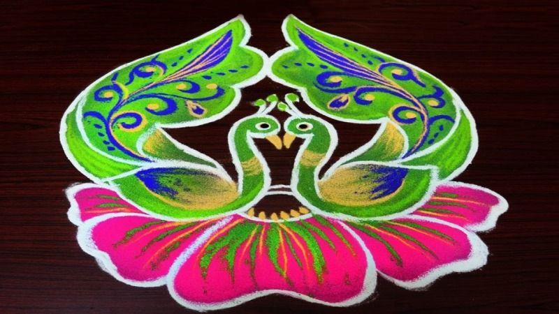 Rangoli Peacock Kolam Design