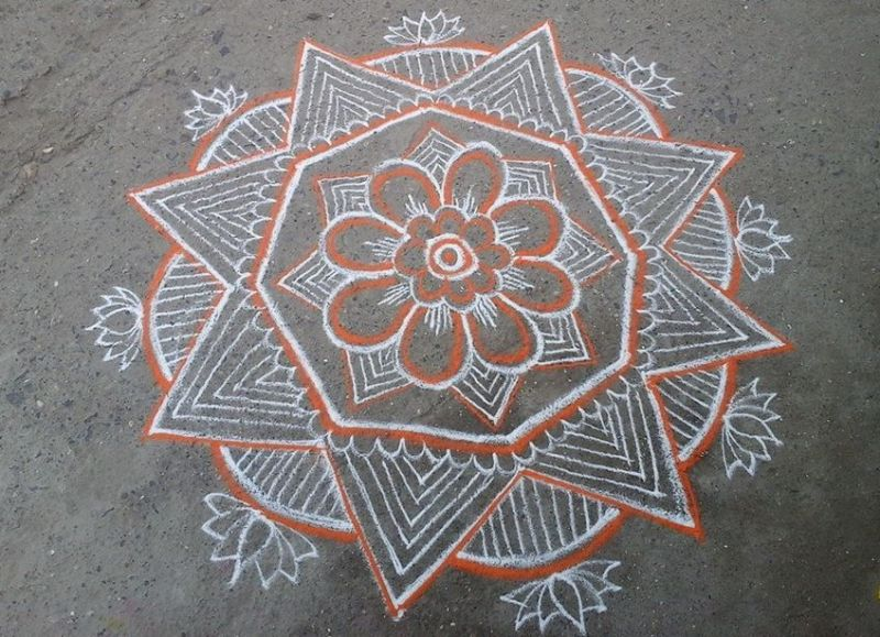 Kolam Designs with Spiral and Flower