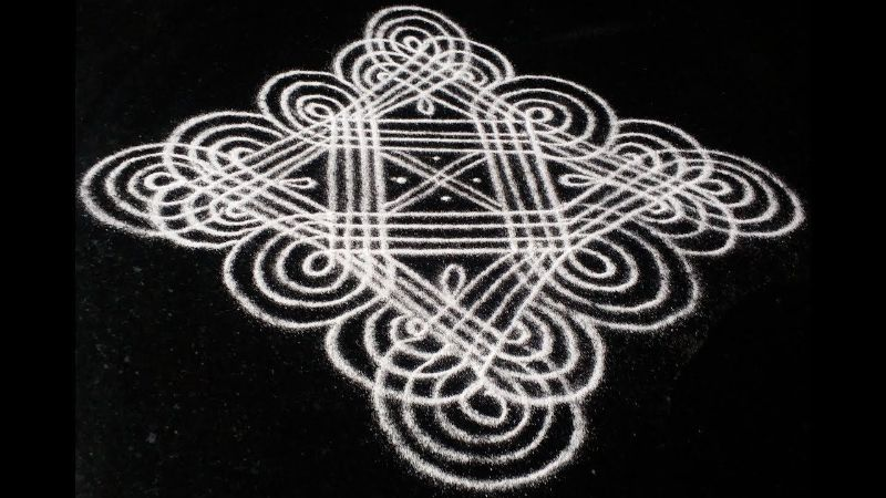 Rangoli with Lines Kolam Design