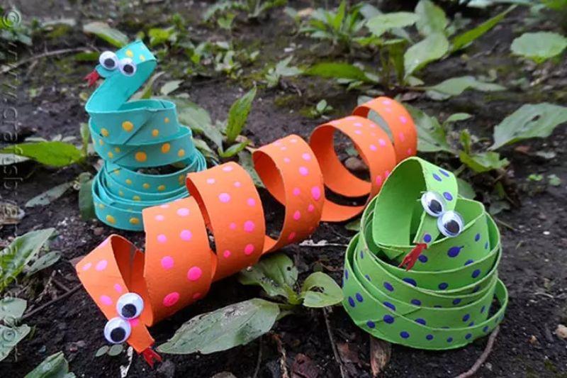 Cardboard Tube Coiled Snake
