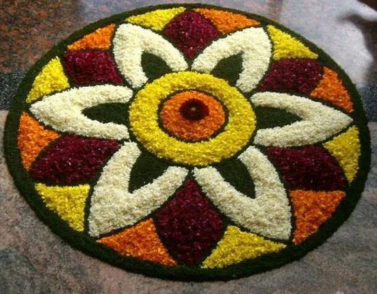 Round Rangoli with Flowers