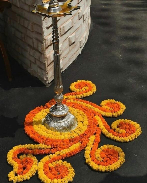 Lampstand Flower Rangoli