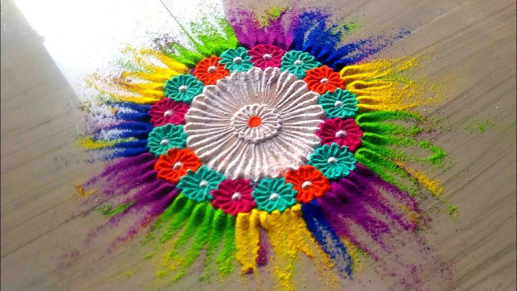 Color Splash Holi Rangoli Design