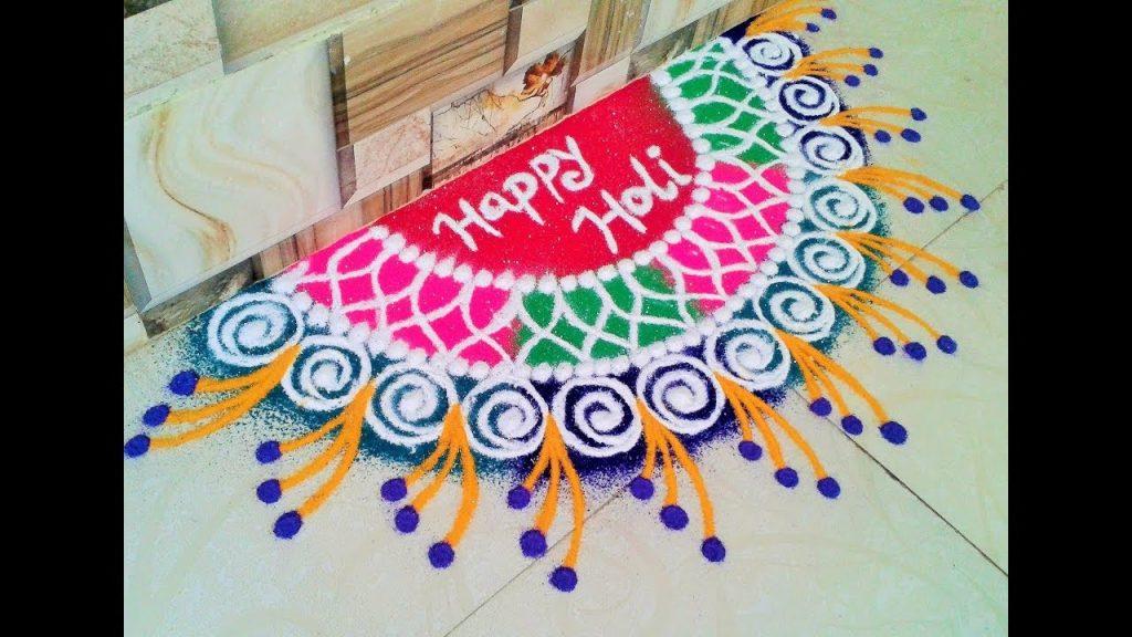 Welcome Happy Holi Rangoli Design