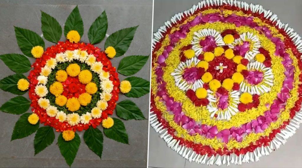 Easy Flower and Leaves Rangoli
