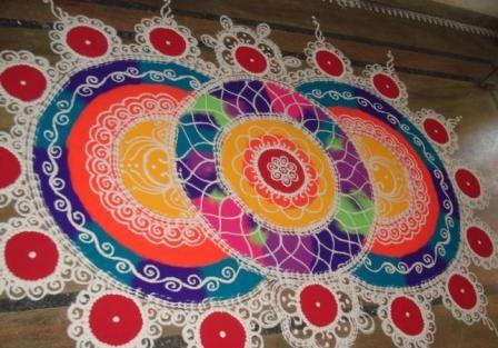 Three Circle Rangoli Design
