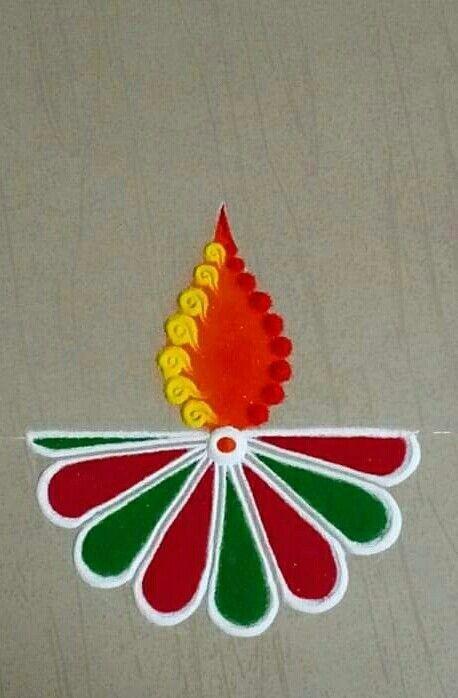 Simple Diya Rangoli Design