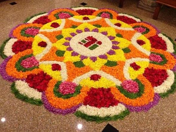 Large Flower Rangoli Design for Onam