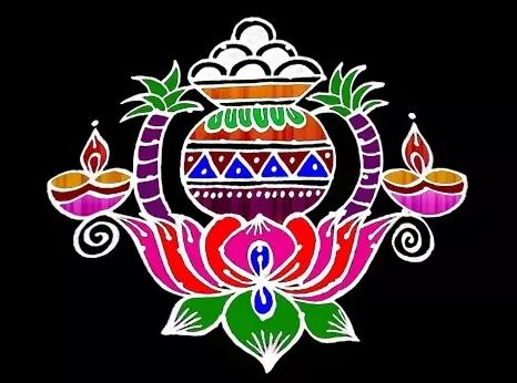 Pongal Pot Rangoli Design