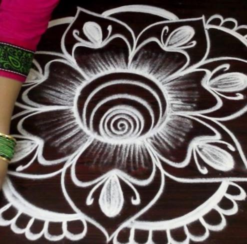 Single Color Rangoli Design
