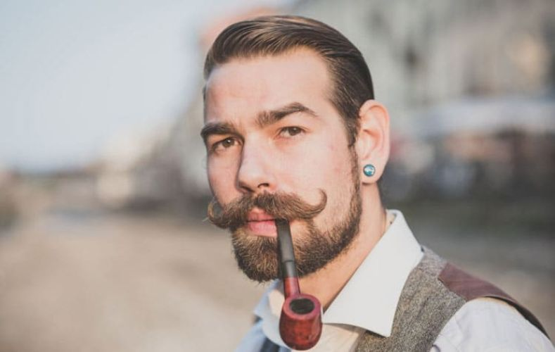 Taper Fade Beard with a Handlebar Mustache