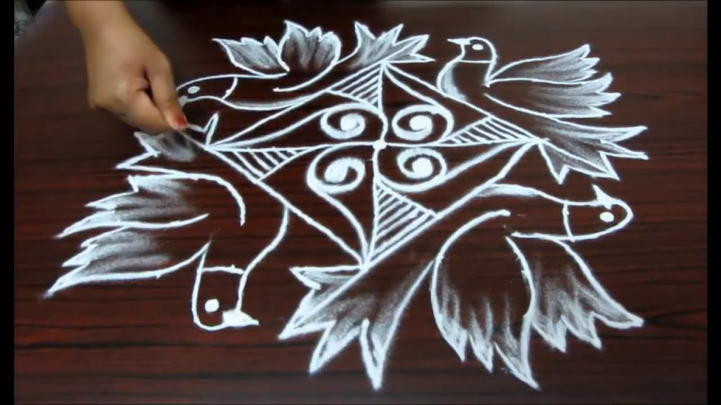 dove rangoli design