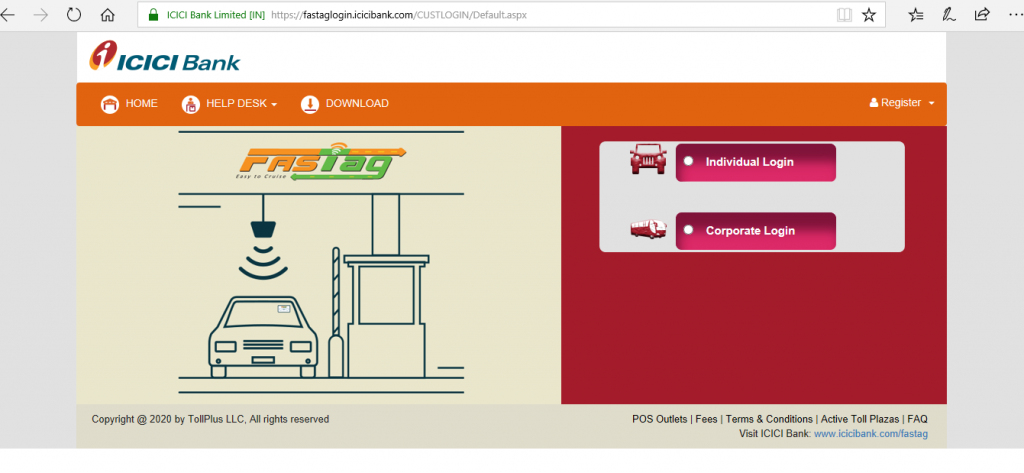 Check FASTag Balance using ICICI Portal