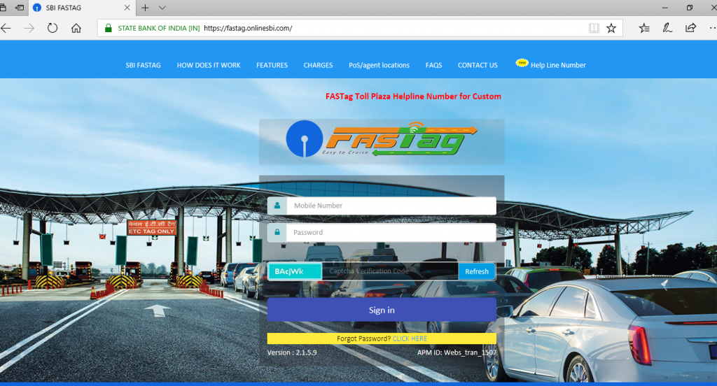 FASTag Balance Check through SBI Website