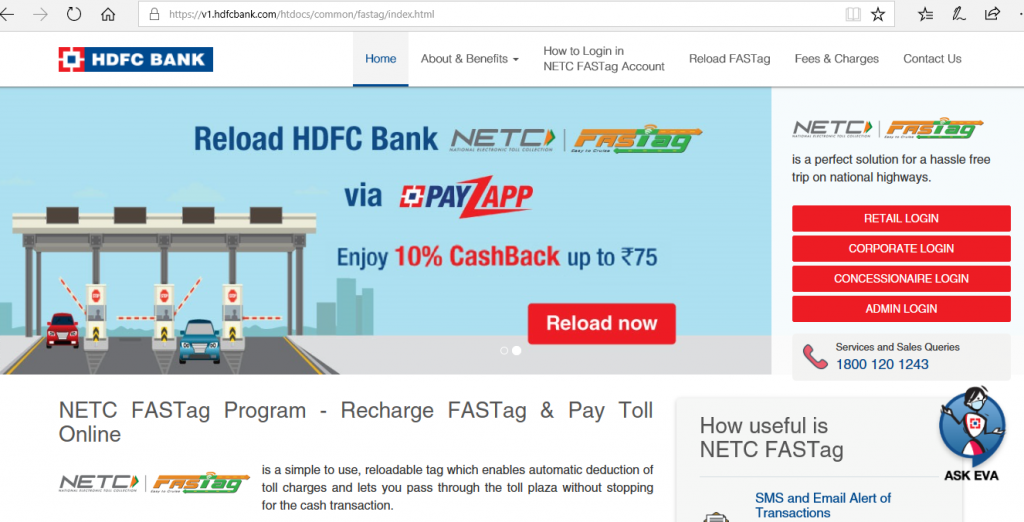 HDFC Portal for Checking FASTag Balance