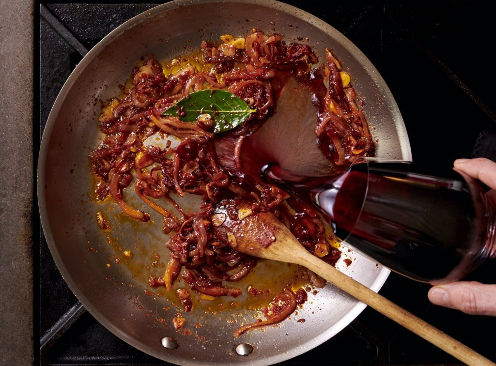 Cooking with red wine
