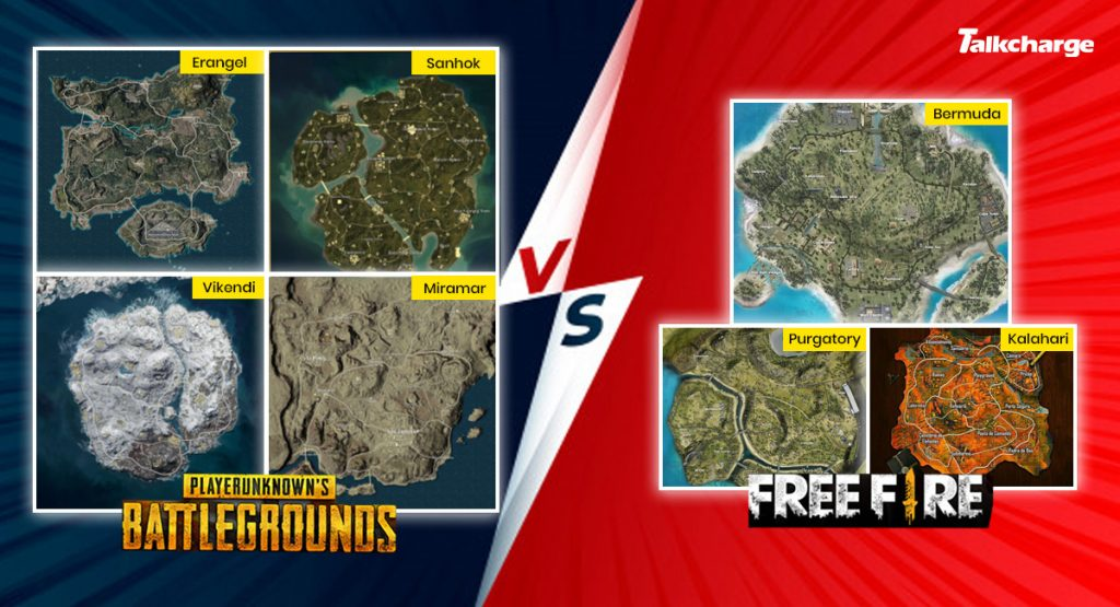 Garena Free Fire vs PUBG: Gameplay Maps