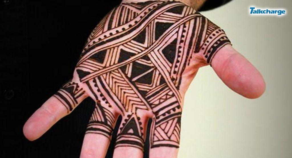 Striking Geometric Pattern: simple mehandi design for men