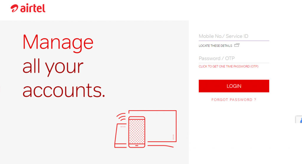 Airtel Log-in Page