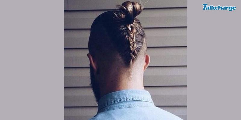 Braid-Into-Bun Punk Men's Hairstyle
